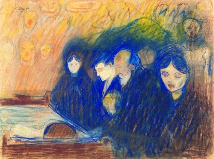 """""""By the Deathbed,"""" Edvard Munch (Pastel, 1893)"""