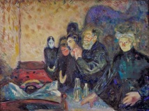 By the Deathbed oil painting by Edvard Munch 1915 Symbolist art