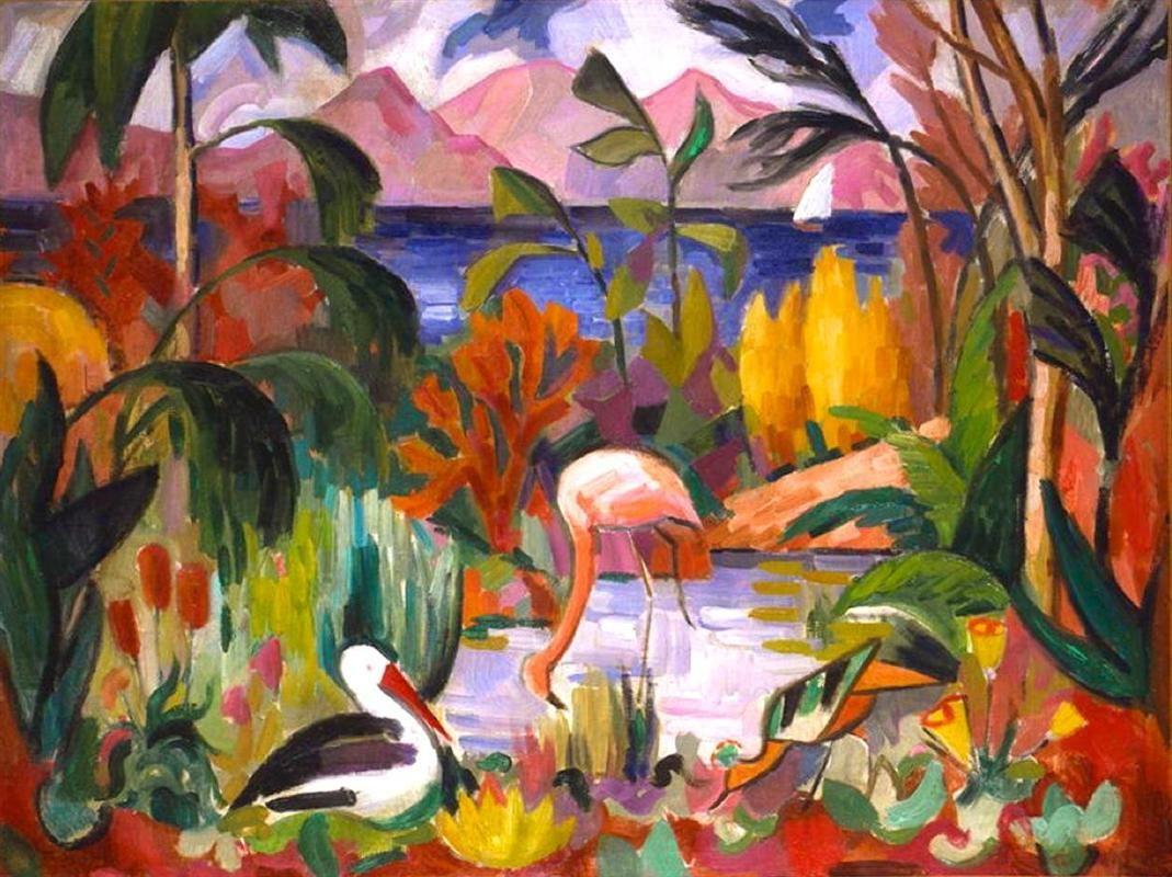 Jean Metzinger paysage coloré aux oiseaux aquatiques